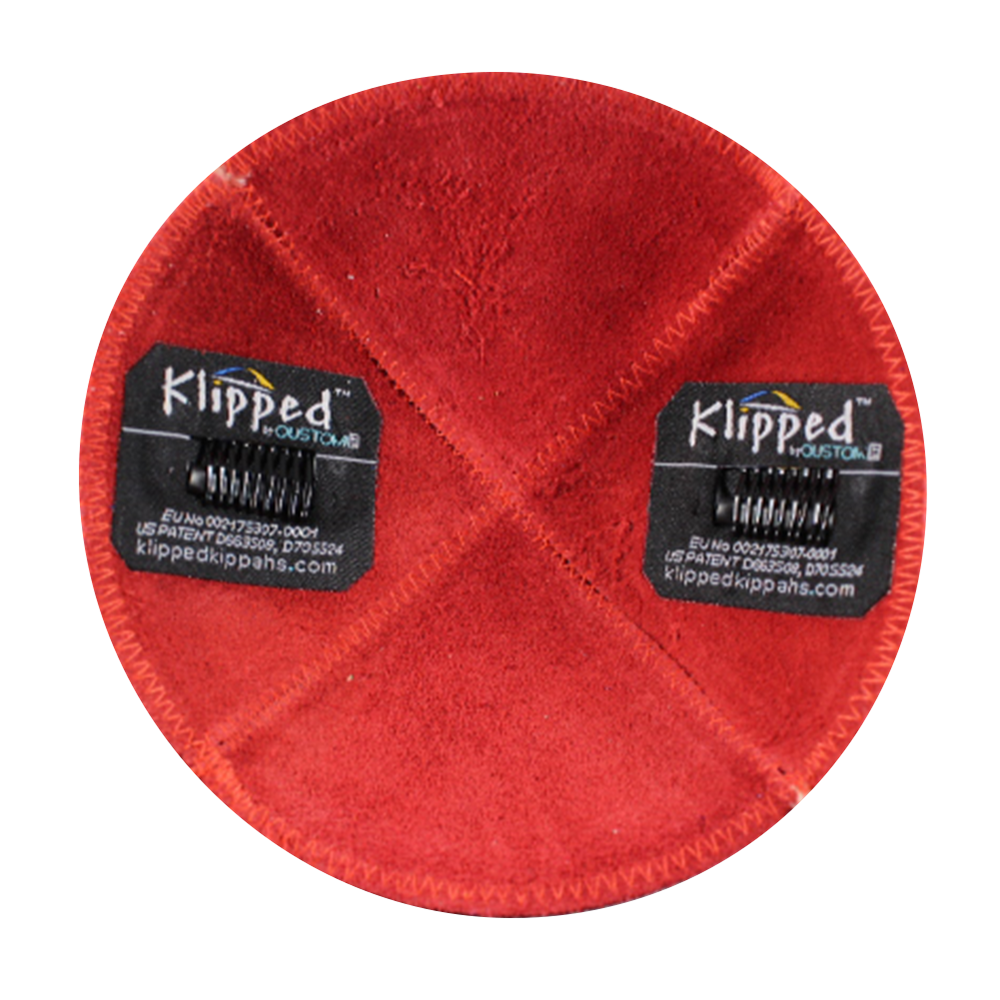 Inside Red Orange Suede Kippah | Kippahs & Yarmulkes | Klipped Kippahs