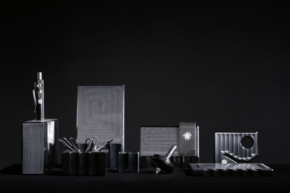 Modern black desk accessories