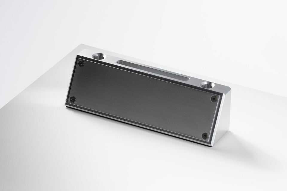 Desk nameplate with business card holder