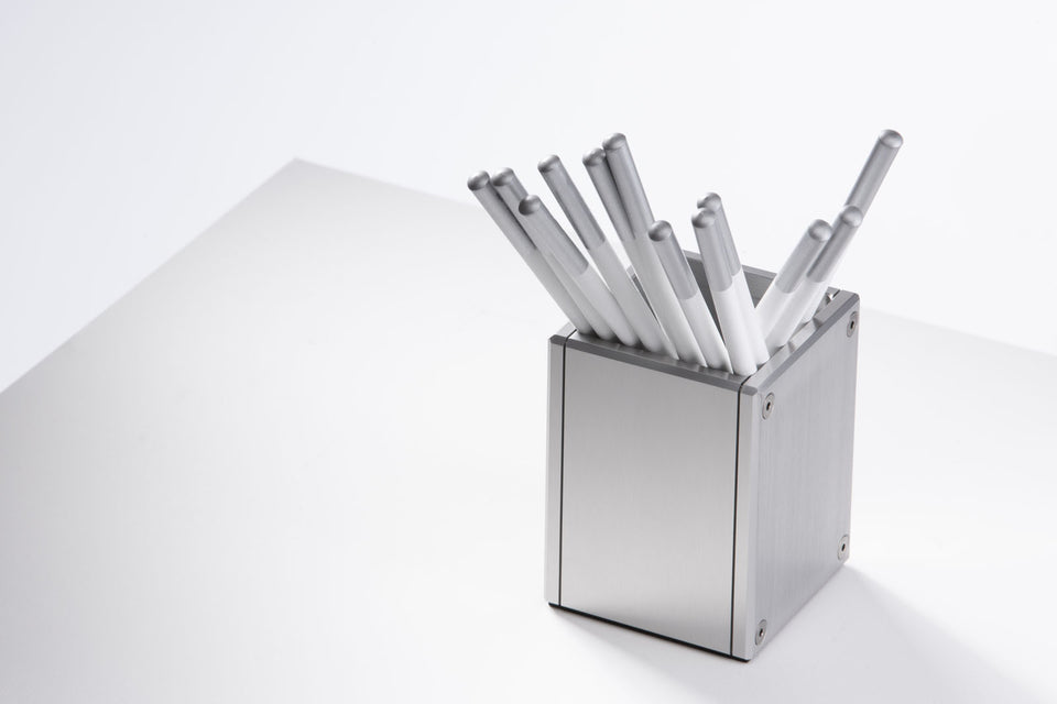 Hand-Crafted Pen Holder - Silver