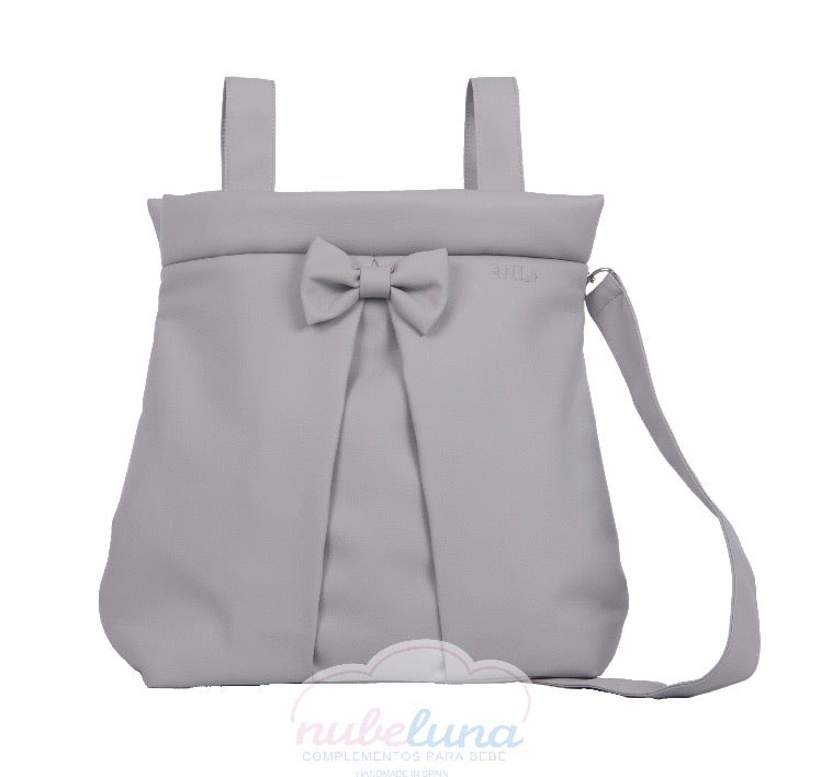 Grey leather bow pram bag