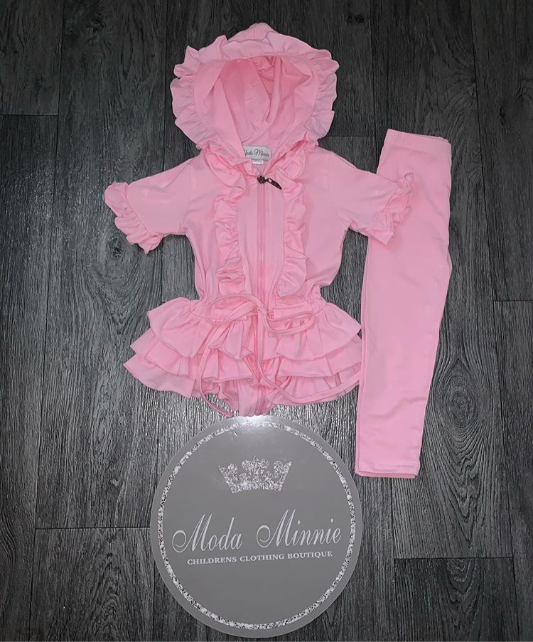 Pink Short Sleeve Moda Minnie Ruffle Lounge Set