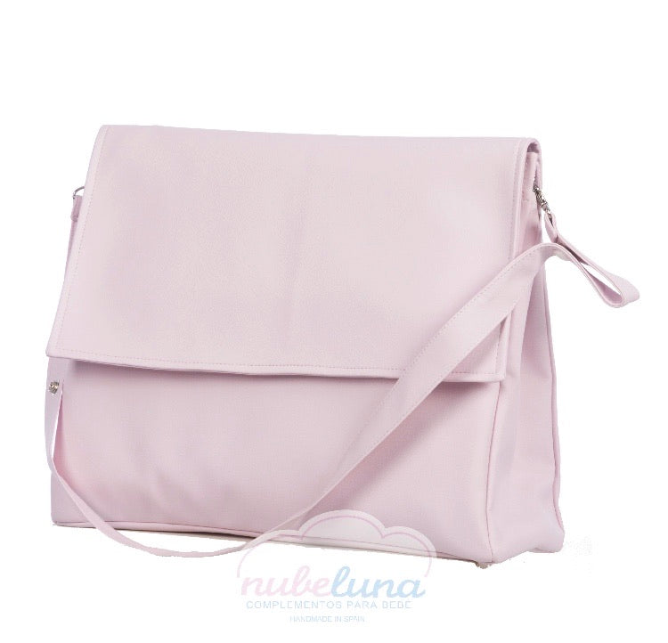 Pompas Pink leather Lid Pram Bag