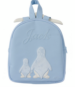 Blue Appliqué leather rucksack