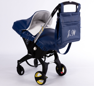 Navy Spanish leather pram bag