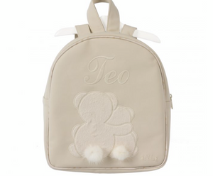 White Appliqué leather rucksack