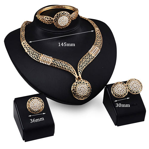 Rhinestone Necklace Bracelet Ring Earrings Set