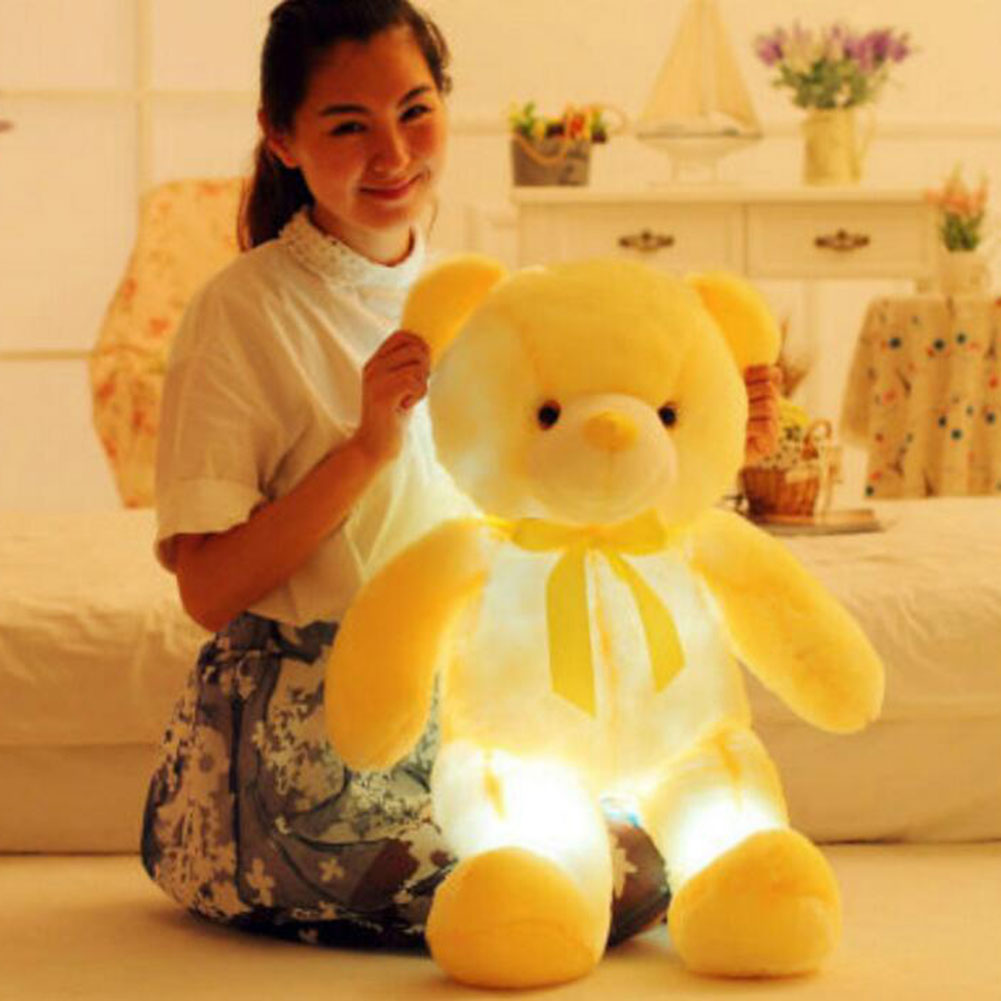 Colorful Glowing Soft Stuffed Plush Toy Bear 75cm Light Up LED Animals Toys