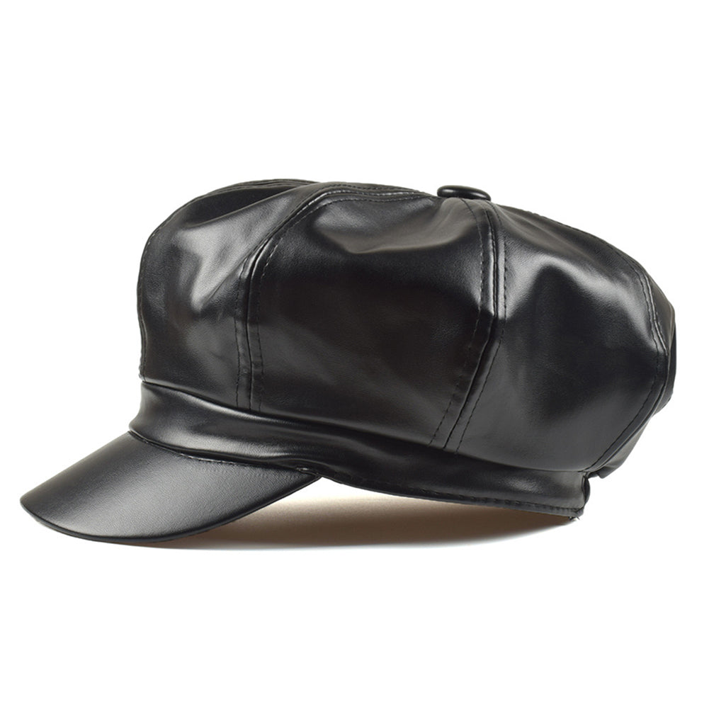 Faux Leather Solid Color Outdoor  Cap
