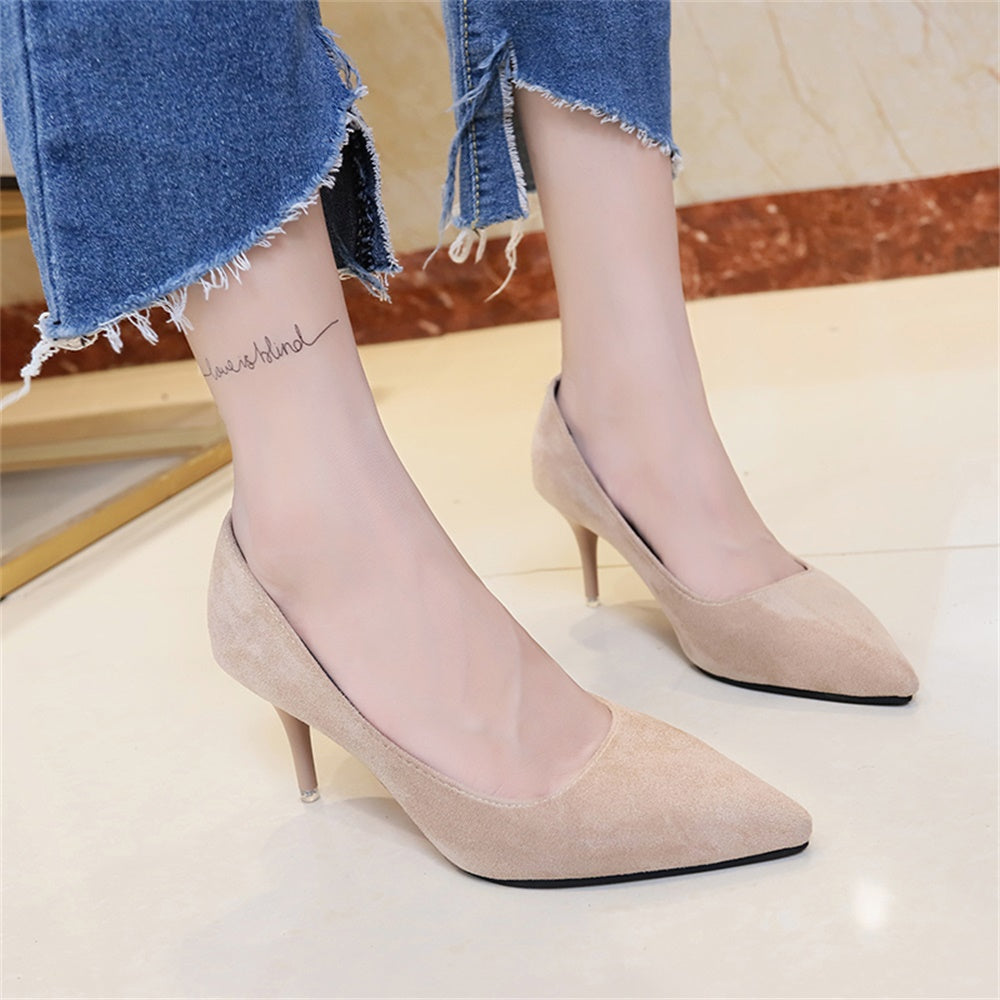 High-heeled pointed shallow-mouth shoes