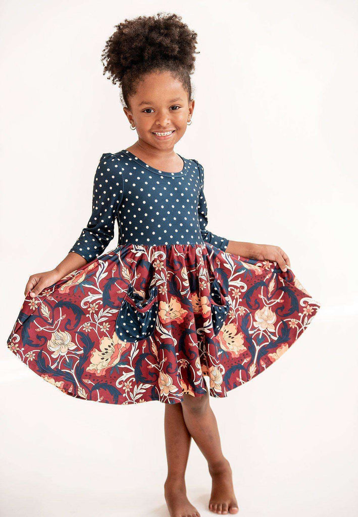 Burgundy Paisley Twirl Hugs Dress - RTS