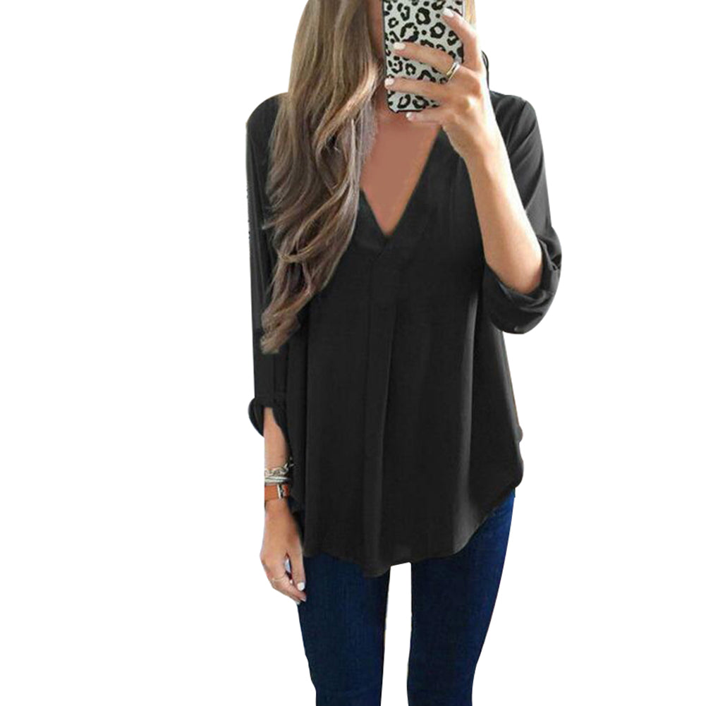 V Neck Loose Long Sleeve Chiffon Shirt