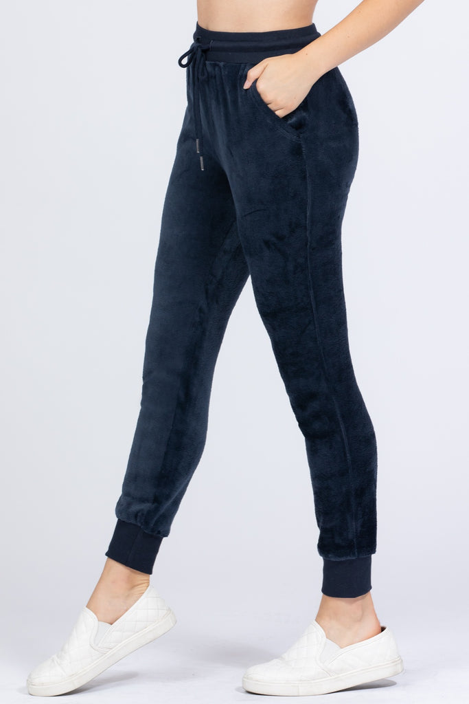 Faux Fur Jogger Pants