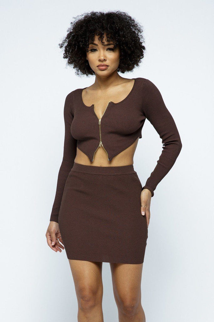 2 Way Zipper Mini Skirt Set