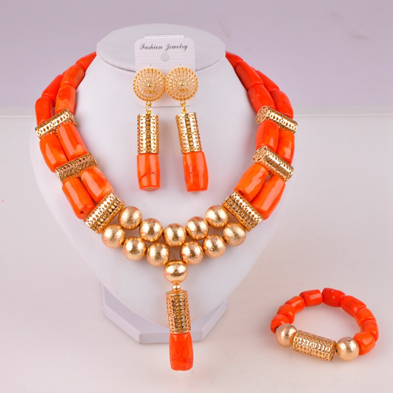 nigeria coral beads jewelry set bridal jewelry sets african beads necklaces for women