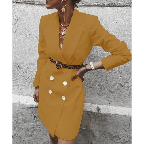 Double Button Long Sleeve Coat