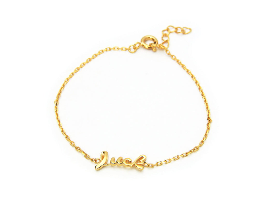 "Luck Bracelet in 18k Gold Plated 925 Sterling Silver, 6"" Long"