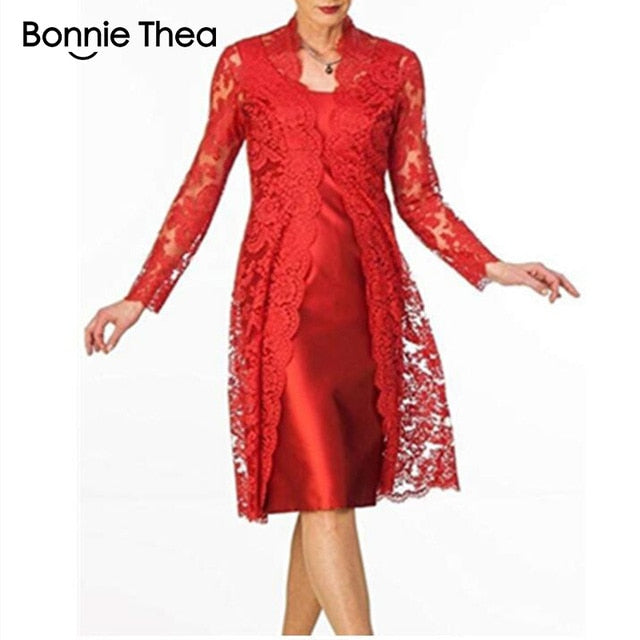 Bonnie Thea  Long Sleeve Two-Piece Lace Dress