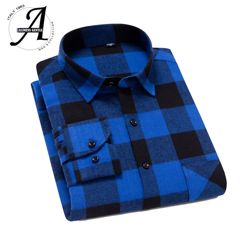 100% Cotton,Slim Fit Flannel Men Shirt