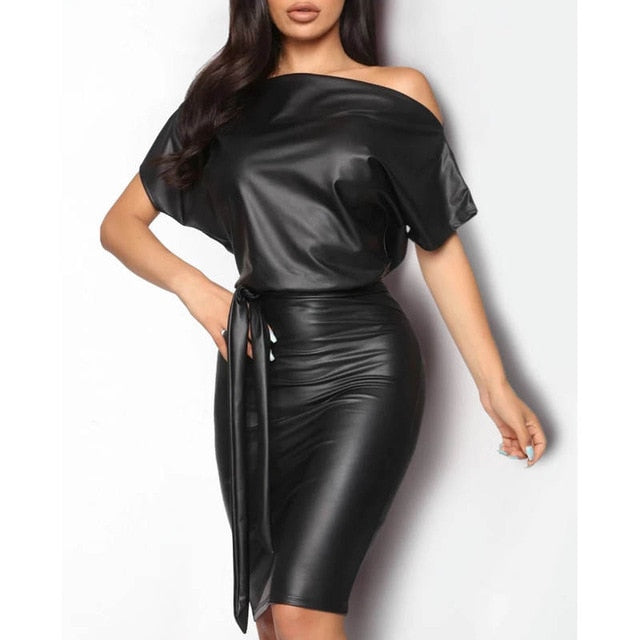 Black Asymmetrical Sexy Faux Leather Bodycon Summer Dress