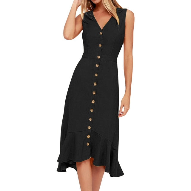 V-Neck Sleeveless dress with a row Of Buttons