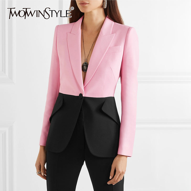 Hit Color Patchwork Blazer For Women