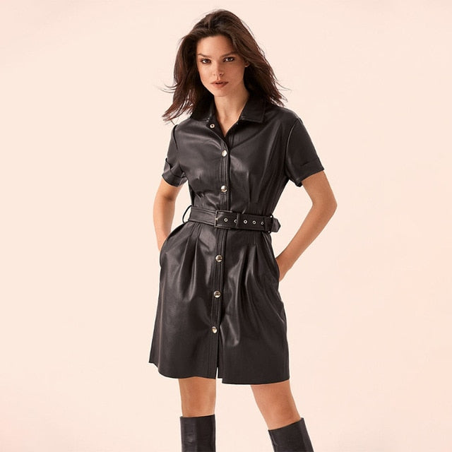 Vintage Sashes Front Button Short Sleeve Dress