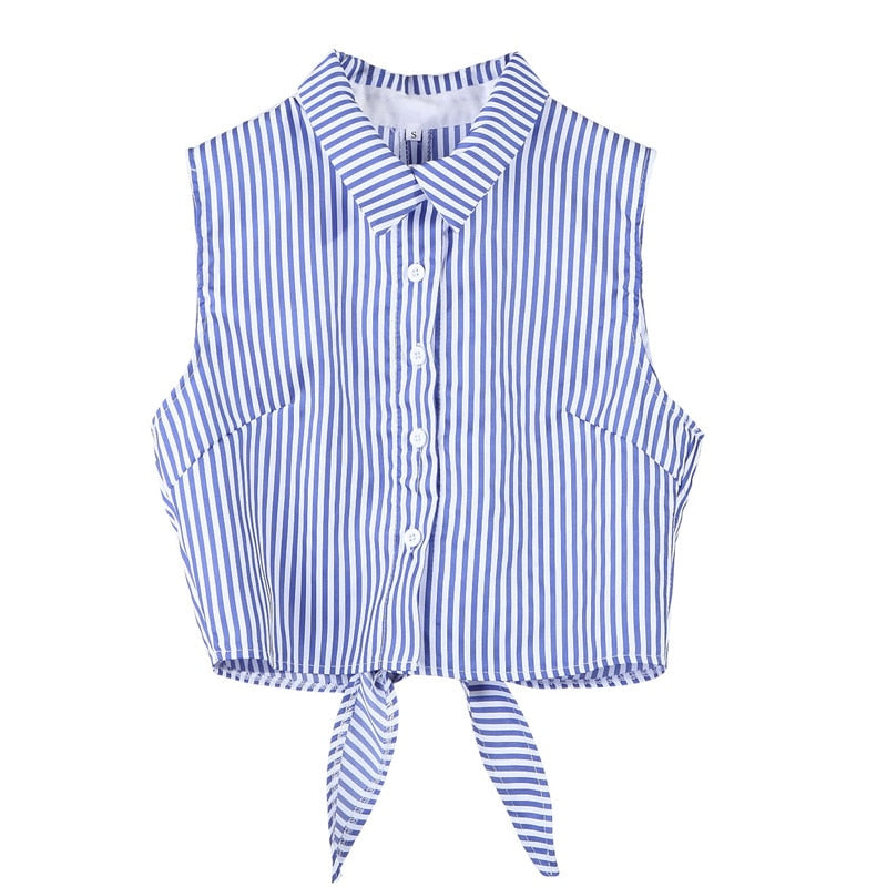 Blue striped  button down  Sleeveless Shirt/ Blouse with tied knot