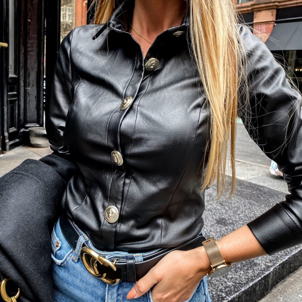 2020 Elegant Women Leather Blouses with Turn-down Collar