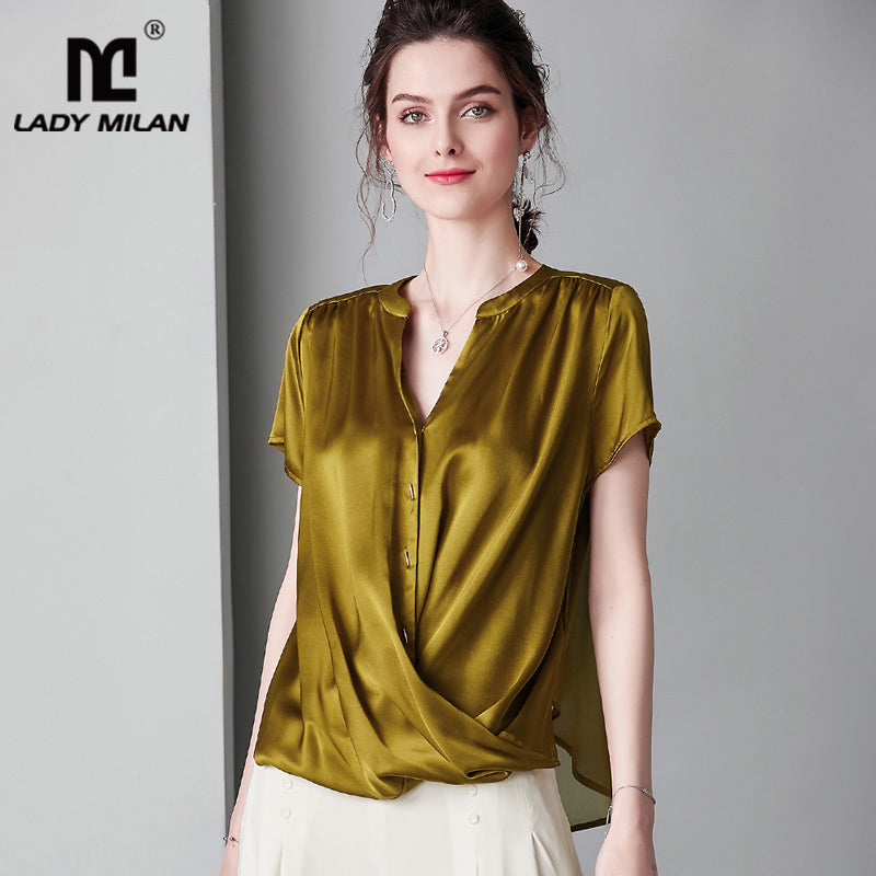 Lady Milan 100% Pure Silk, Sexy Ladies Blouse : V Neck, Short Sleeve