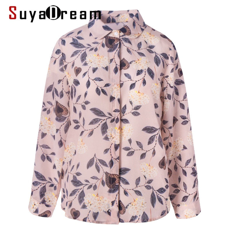 100% Real Silk Printed Long Sleeved Blouse