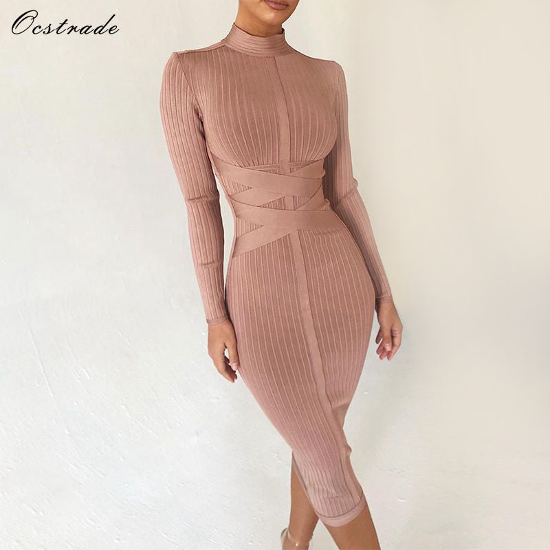 Ocstrade High Quality Ribbed Bandage Dress