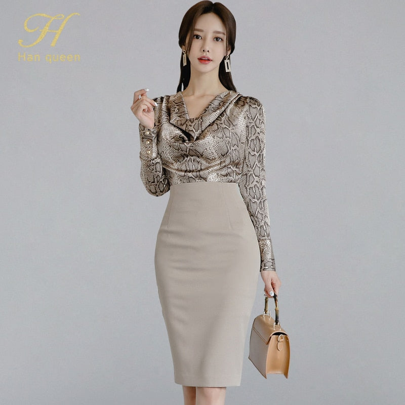 2 Piece Set Pile Collar Snakeskin Pattern Blouses & Sheath Pencil Skirt