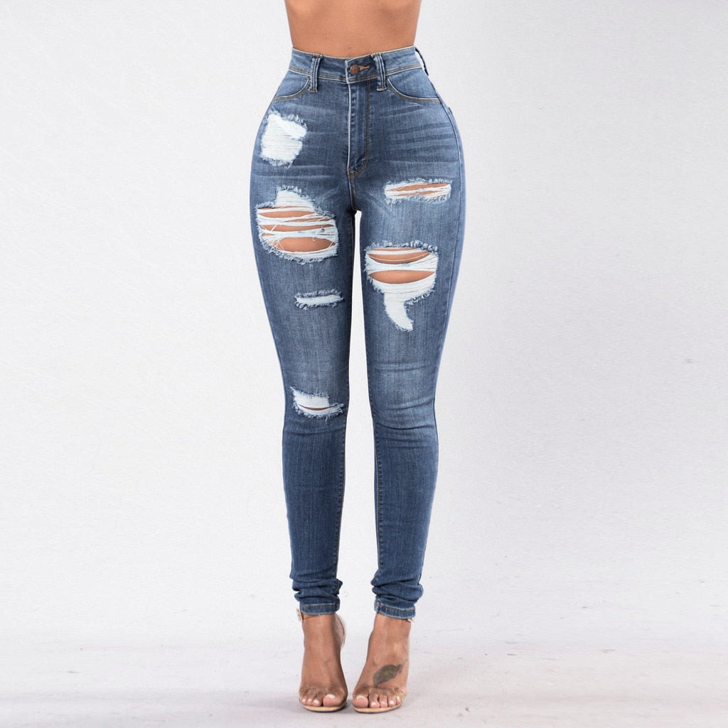 Mid Waist Stretch Ripped Jeans