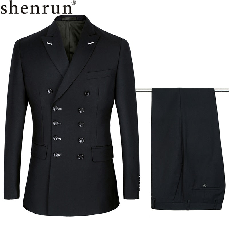 Shenrun Slim Fit Double Breasted Suit