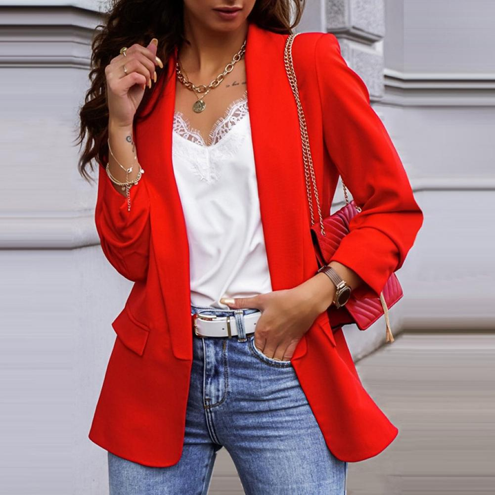 Solid Color  Long Sleeve Women  Blazer