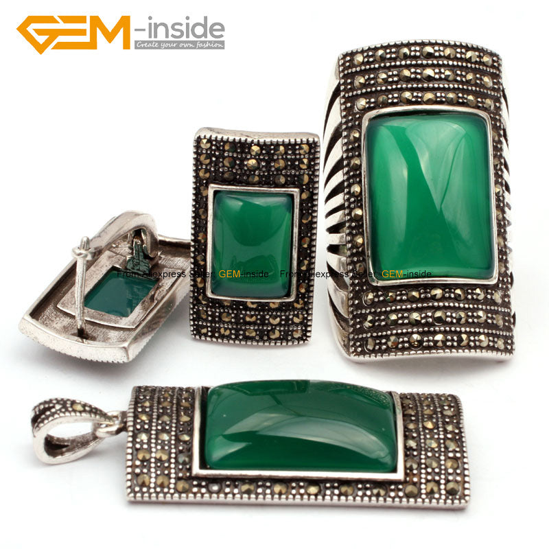 Rectangle Agates Beads Fashion Jewellery Sets