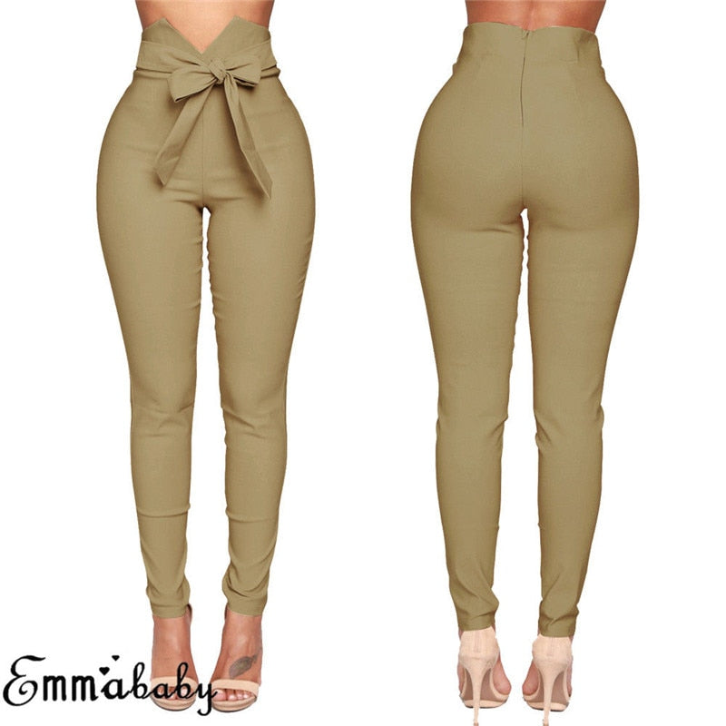 High Waist Casual, Long, Skinny, Elastic Pencil- Pant with Bandage