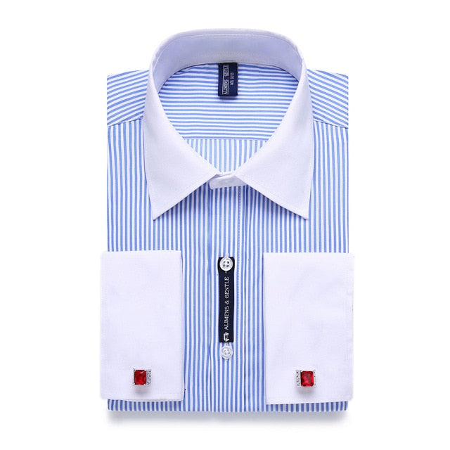 Striped Men French Cufflinks Long-sleeve Shirts : White Collar Design