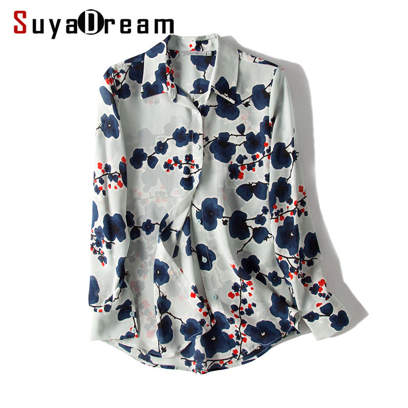 100% REAL SILK Floral print Long sleeve Blouse