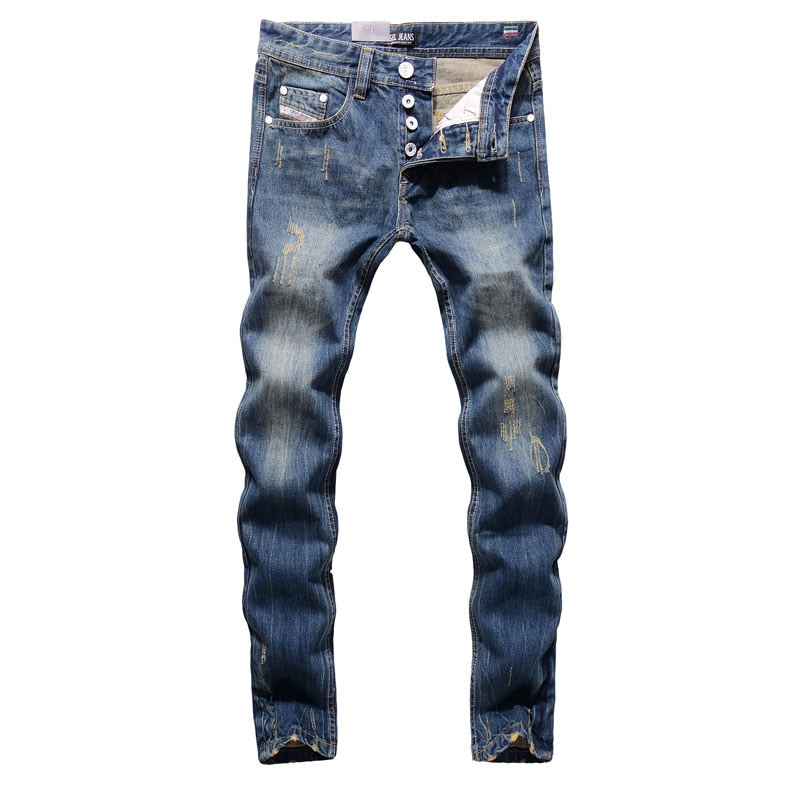High Quality Straight Fit Ripped Jeans, 100% Cotton