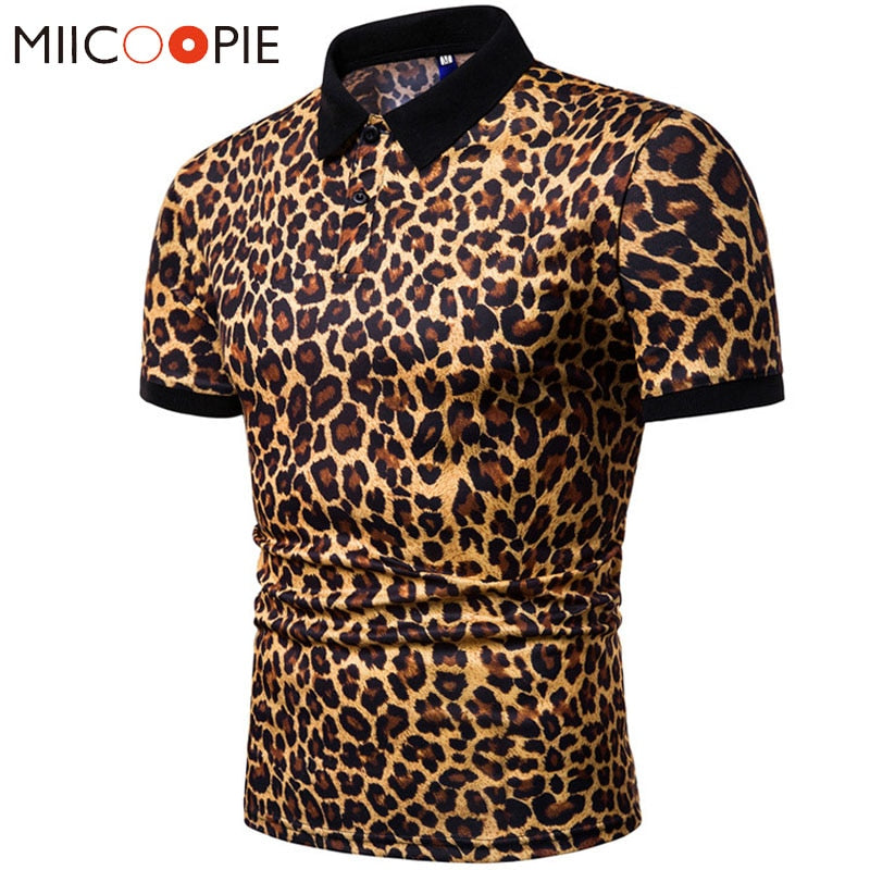 Leopard Printed Turn Down Collar Short Sleeve Polo