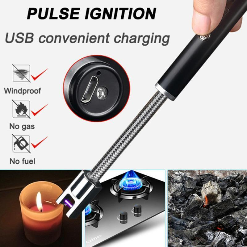 USB Electric 360 Degree Rotation Rechargeable Flameless Windproof Zinc Alloy Lighter