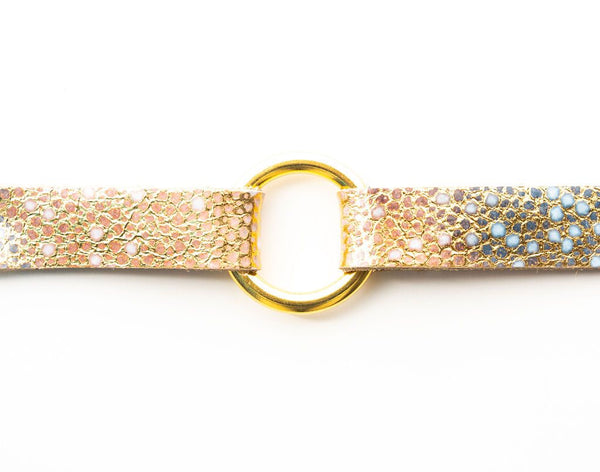 BRACELET GOLD WITH BLUE SPECKLED LEATHER