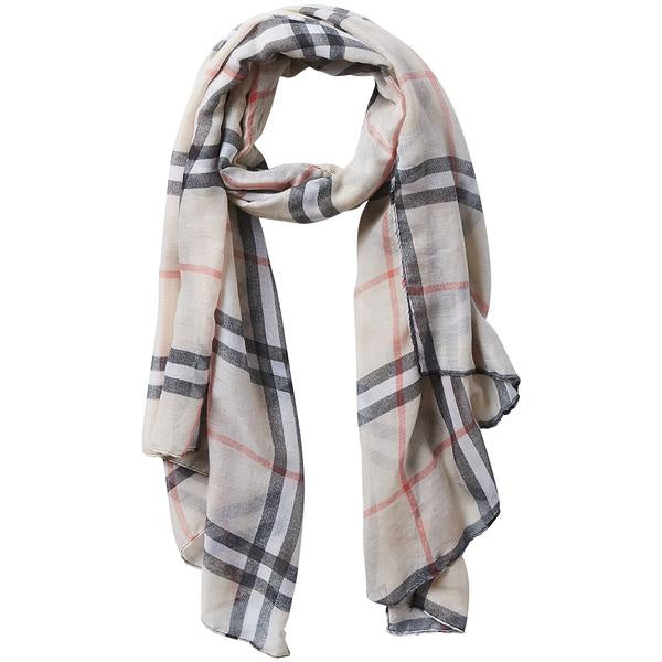 BEIGE PREPPY LIGHTWEIGHT PLAID SCARF