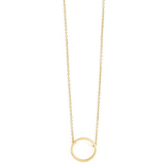NECKLACE SMALL BRUSHED OPEN CIRCLE GOLD PLATED