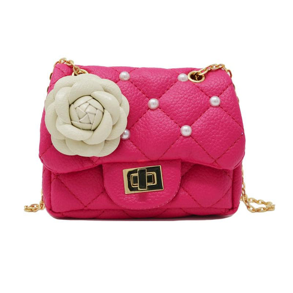 MINI PURSE HOT PINK ROSE WITH PEARL