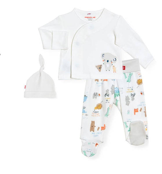 3PC ORGANIC COTTON YEAR OF FIRSTS ONESIE SET