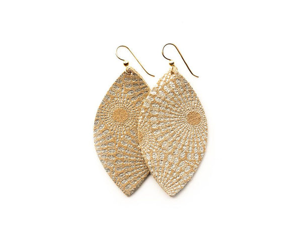 EARRINGS STARBURST GOLD LEATHER LARGE