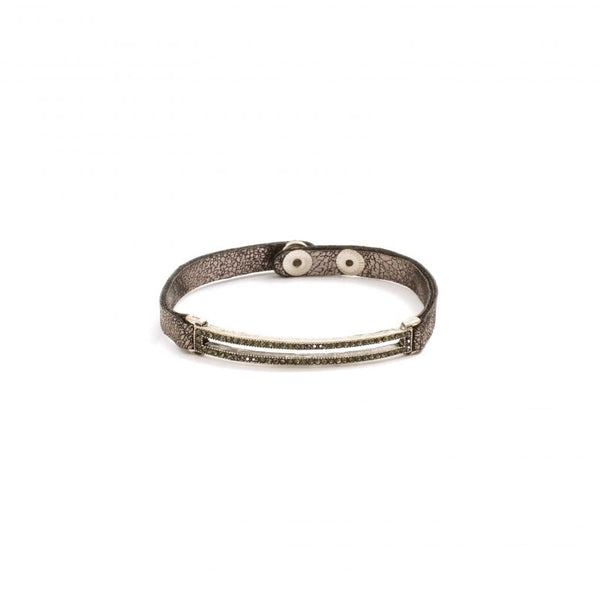 BRACELET NARROW BLK SHIMMER RECTANGLE SILVER